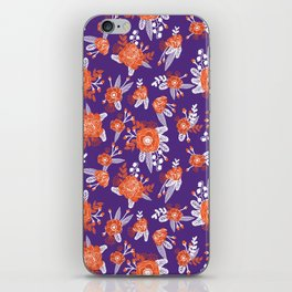 University football fan alumni clemson orange and purple floral flowers gifts iPhone Skin