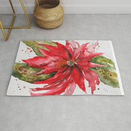Bright Red Poinsettia Watercolor Rug