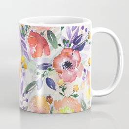 Colorful Mix Flowers Watercolors Floral Collage Coffee Mug