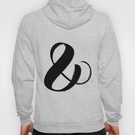 Abstract Ampersand sign Black, Brush stroke art Hoody