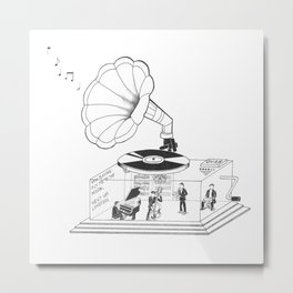 How does a Gramophone actually work? Metal Print