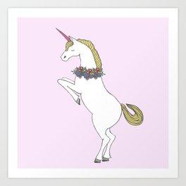 Unicorn & Flowers Art Print