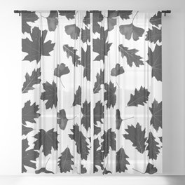 Falling Autumn Leaves in Black and White Sheer Curtain