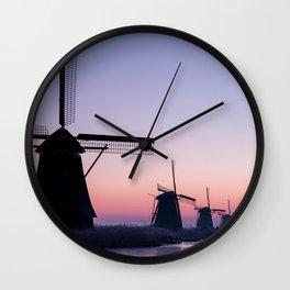 Windmills at Sunrise II Wall Clock