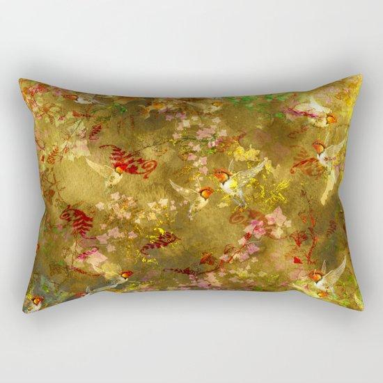 Golden Hummingbirds Pattern Rectangular Pillow