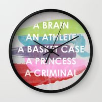 breakfast club Wall Clocks featuring Sincerely yours, The Breakfast Club. by Sarah Brust