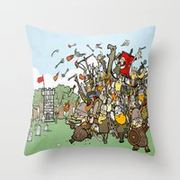 vikings Throw Pillows featuring Attack of the Vikings!  by brittonandbaer