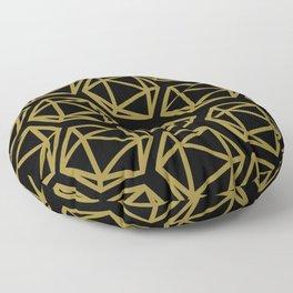 D20 Pattern - Gold Black Bold Floor Pillow