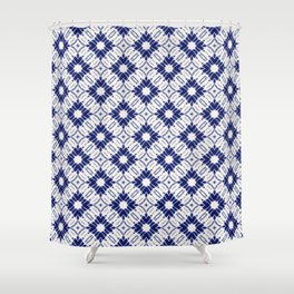 Watercolor Shibori Blue Shower Curtain