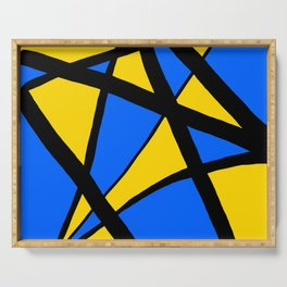 Yellow and Blue Triangles Abstract Serving Tray