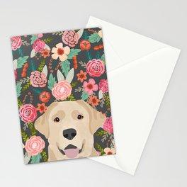 Yellow Lab dog portrait labrador retriever dog art pet friendly florals floral Stationery Cards