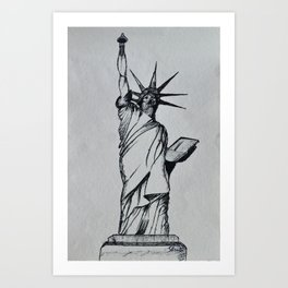 Title:The Statue Of Liberty Sketch Art Print