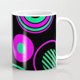 Retro Rings And Circles - Black, Purple And Green Coffee Mug