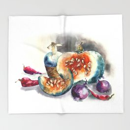 Watercolor harvest with vegetables, Thanksgiving Day Throw Blanket