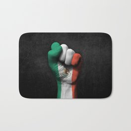 Mexican Flag on a Raised Clenched Fist Bath Mat