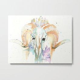 Ram Skull Metal Print
