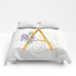 Modern glamorous personalized gold initial letter A, Custom initial name monogram gold alphabe Comforters