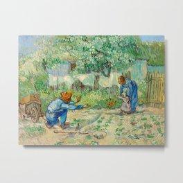 Vincent Van Gogh - First Steps, after Millet Metal Print