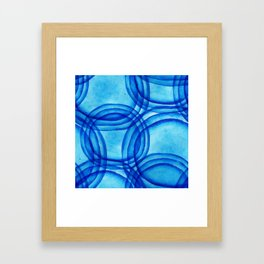 round shapes watercolor seamless ornament. Paints. Watercolor blue pattern. Framed Art Print