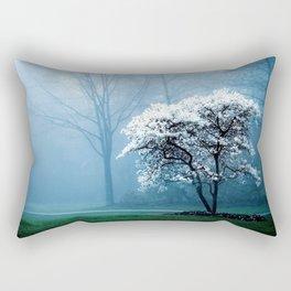 Early Morning Foggy Tree Rectangular Pillow