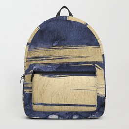 Artistic Navy Blue Gold Watercolor Brushstrokes Backpack