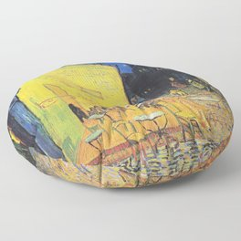 Café Terrace at Night by Vincent van Gogh Floor Pillow