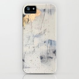 Hush: an abstract mixed-media piece in white and gold with a hint of blue iPhone Case