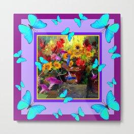 Blue Butterflies Purple Floral Still Life Painting Metal Print