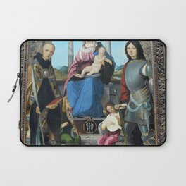 Francesco Marmitta - Madonna and Child with St Benedict, St Quentin and Two Angels Laptop Sleeve