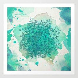Green mandala watercolor Art Print