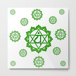 "GREEN SANSKRIT CHAKRAS  PSYCHIC WHEEL "" LOVE"" Metal Print"