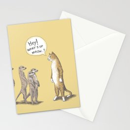 Cat & Meerkats Stationery Cards