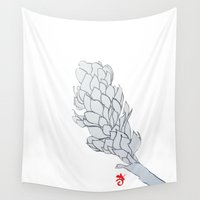 colombia Wall Tapestries featuring Alpinia purpurata – Red Ginger Flower, Nature in Bogota, Colombia  by ANoelleJay