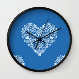 Azure Strong Blue Heart Lace Flowers Wall Clock