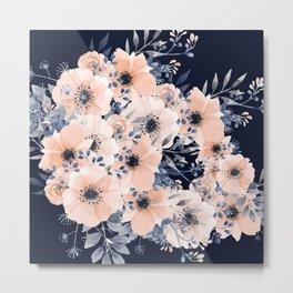 Floral Watercolor Print, Navy Blue and Blush Pink, Coral Metal Print