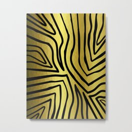 Black And Gold Zebra Stripes Metal Print