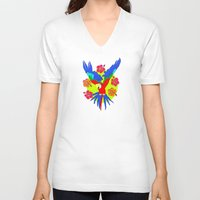 parrot V-neck T-shirts featuring Parrot by lescapricesdefilles