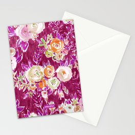 MERLOT PROFUSION FLORAL Stationery Cards
