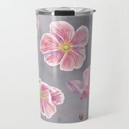 Japanese Anemone Flower Painting Travel Mug