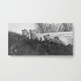 Fox Kits Sketch Metal Print