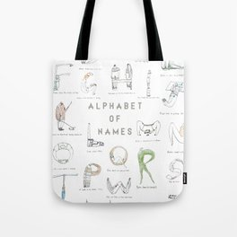 Alphabet of names Tote Bag