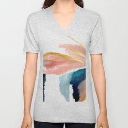 Exhale: a pretty, minimal, acrylic piece in pinks, blues, and gold Unisex V-Neck