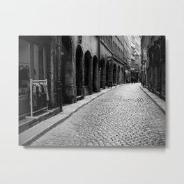 Stone pavement street: Vieux Lyon Metal Print