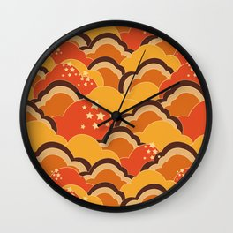 Retro 70s Inspired Boho Clouds Oranges Yellow Browns Wall Clock