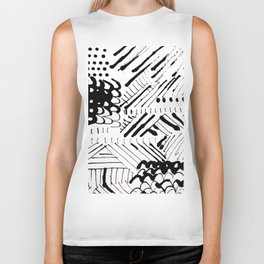 Black and White Ink Abstract Mark Making Pattern Biker Tank