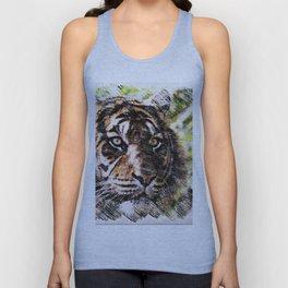 Tiger Eyes Piercing Through the Jungle Unisex Tank Top