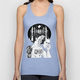 Cybernetic implants in the deep night of my humanity Unisex Tank Top