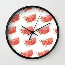 Watercolor Watermelon Slices Pattern Wall Clock
