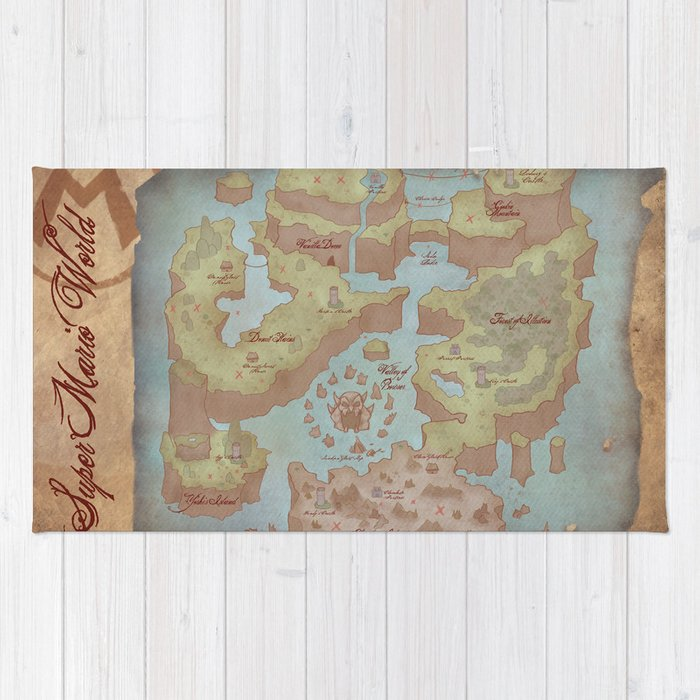 Super mario world map vintage style rug by kazpalladino society6 super mario world map vintage style rug gumiabroncs Gallery
