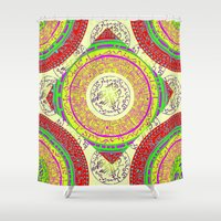 orange pattern Shower Curtains featuring Orange pattern  by MinaSparklina